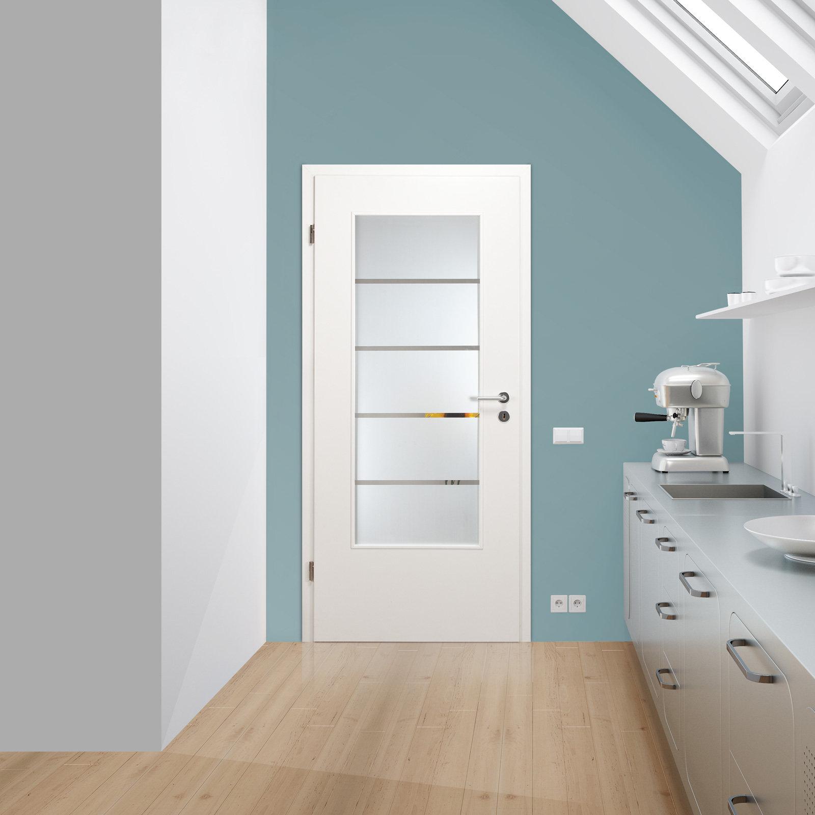 verglasung glaseinsatz f r holzt r 125 1 f la klarglas mit dekor streifen ebay. Black Bedroom Furniture Sets. Home Design Ideas